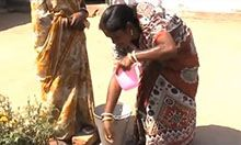 woman demonstrating handwashing