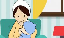 Animated mother peacefully breastfeeds her baby