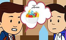 Animation of two boys with a thought bubble between them showing fruit under a water tap.