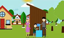 Animated image taken from the video showing a happy family outside their clean latrine and tap.