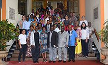 "Photo of about 50-60 women and men standing, facing the camers, on a wide stairway. Caption: ""Sierra Leone National Strategy to Prevent and Control Anemia Validation Meeting"""