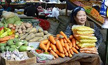 Woman selling produce at market