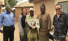 Mr. Adams George Ango (Kajuru LGA Nutrition Focal Person), Sascha Lamstein (SPRING Co-Principal Investigator), a C-IYCF Community Volunteer for Idon ward, Dr. Florence Oni (UNICEF/Kaduna Nutrition Specialist), and Rafael Perez-Escamilla (SPRING consultant, Principal Investigator).