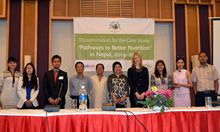 SPRING's Pathways to Better Nutrition (PBN) Nepal case study team and HKI Nepal staff who helped support the study gathered at the final national dissemination event, held in Kathmandu on April 20th 2016