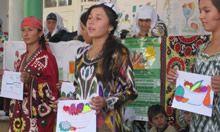 Children in a nutrition SBCC program in Tajikistan