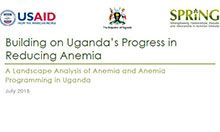 Cover of Building on Uganda's Progress in Reducing Anemia document
