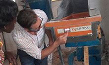 Felix Broxchurch, the president of the Sanku project in Tanzania, explaining the unique features of the equipment.
