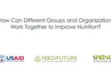 How Can Different Groups and Organizations Work Together to Improve Nutrition?