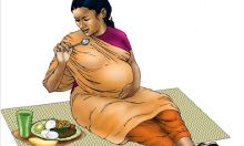 Illustration of a pregnant woman eating on a mat