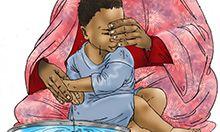 Illustration of a woman washing a boy